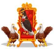 Drie adelaars die in de troon zitten stock illustratie