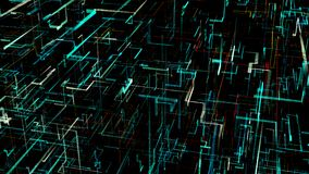 Drie-afmeting digitaal Kunstmatig Neuraal Netwerk vector illustratie