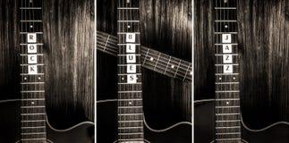 Drie akoestische gitaren en tekenrots, blauw, jazz Stock Foto's