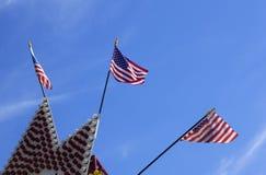 Drie Amerikaanse Vlaggen Stock Foto