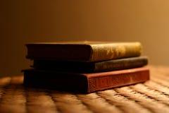 Drie antieke boeken stock foto