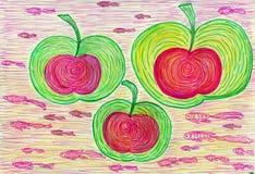 Drie appelen en vissen stock foto's