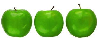 Drie appelen van de Granny Smith Royalty-vrije Stock Afbeelding
