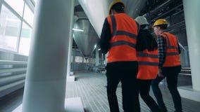 Drie arbeiders in een brouwerijfaciliteit, achtermening stock video