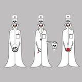 Drie artsen van het skelet in witte lagen Royalty-vrije Stock Foto's
