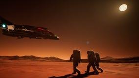 Drie astronauten in spacesuitsterugkeer naar het ruimteschip vector illustratie
