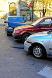Drie autoneerstorting Stock Foto's