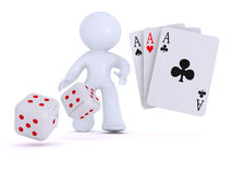Drie azen en twee dobbelen. Kaartspels en het gokken Stock Foto