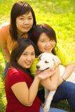 Drie Aziatische Meisjes en Hond stock foto