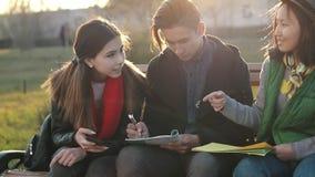 Drie Aziatische tieners die thuiswerk doen bij het park in de zonsondergangtijd stock footage