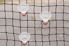 Drie badmintonshuttles Royalty-vrije Stock Afbeeldingen