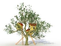 Drie baksteenhuis op een boom â1 Royalty-vrije Stock Afbeeldingen