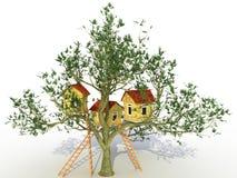 Drie baksteenhuis op een boom â2 Stock Foto