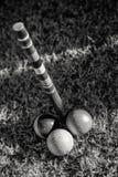 Drie Ballen bij de Afwerking Pool in Croquet Stock Afbeelding
