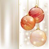 Drie ballen van Kerstmis stock foto