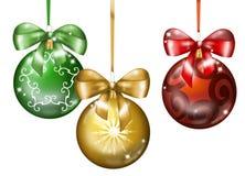 Drie ballen van Kerstmis Stock Foto's