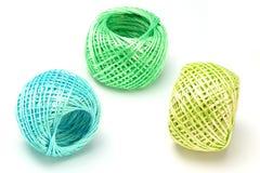 Drie ballen van nylon koord stock afbeeldingen