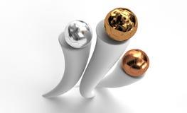 Drie ballen voor toekenning Royalty-vrije Stock Afbeeldingen