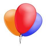 Drie ballons, rood, blauw, sinaasappel, om uw lay-out op te smukken Royalty-vrije Stock Afbeelding