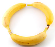 Drie bananen in cirkel royalty-vrije stock foto