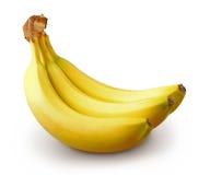 Drie bananen op witte achtergrond Stock Foto's
