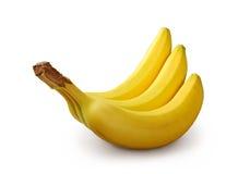 Drie bananen op witte achtergrond Royalty-vrije Stock Foto's