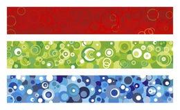 Drie banners met cirkels Stock Illustratie
