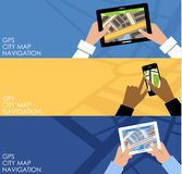 Drie banners met GPS nearsighted vector illustratie