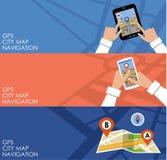Drie banners met GPS nearsighted royalty-vrije illustratie