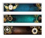 Drie banners met klok stock illustratie