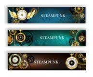 Drie banners met klok vector illustratie