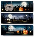 Drie Banners van Vakantiehalloween met Pompoenen Stock Foto's