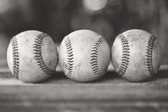 Drie baseballs Stock Afbeeldingen