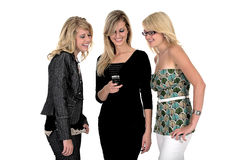 Drie bedrijfsvrouw op telefoon Royalty-vrije Stock Fotografie