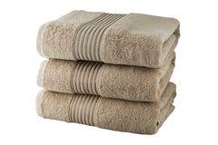Drie beige handdoeken Royalty-vrije Stock Afbeelding