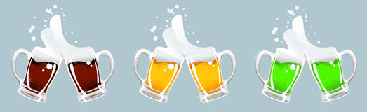 Drie biermok Royalty-vrije Stock Foto's