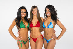 Drie Bikinimodellen stock foto's