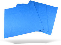 Drie blauwe document servetten stock afbeelding