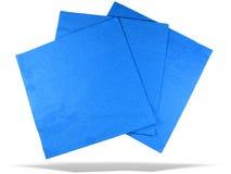 Drie blauwe document servetten met geïsoleerded schaduw Stock Fotografie