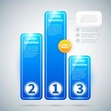 Drie blauwe glanzende banners in de vorm van een voetstuk Stock Fotografie
