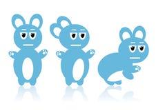 Drie blauwe konijnen Stock Foto