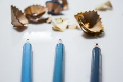 Drie blauwe potloden Stock Foto