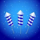 Drie blauwe vuurwerkraket Stock Afbeelding