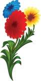 Drie bloemen stock illustratie
