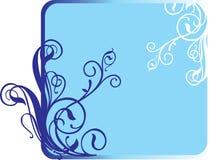 Drie bloemen op een donkerblauwe achtergrond. Stock Foto