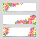Drie bloemenbanners Stock Fotografie