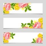 Drie bloemenbanners Stock Foto's
