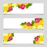 Drie bloemenbanners Royalty-vrije Stock Foto's