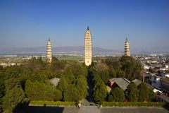 Drie boeddhistische pagoden in de oude stad van Dali, Yunnan-provincie, China Royalty-vrije Stock Afbeelding