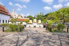 Drie Boedha standbeeld in Wat Phra Borommathat Chaiya Worawihan, een oude tempel bij Chaiya-district, de provincie van Surat Than Royalty-vrije Stock Foto's